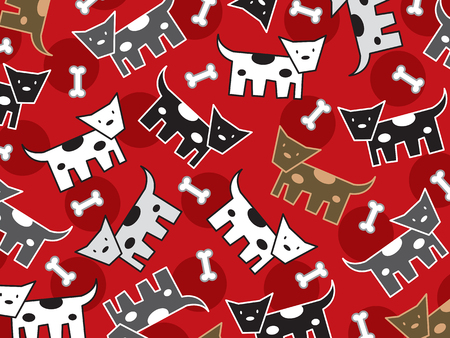 spotted doggies pattern (vector) - illustration Stock Vector - 3048114