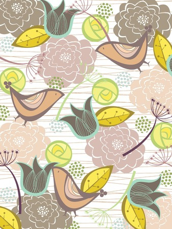 whimsical nature blooms and birds (vector) - illustration