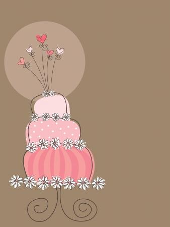 sweet pink wedding cake (vector) - illustration Illustration