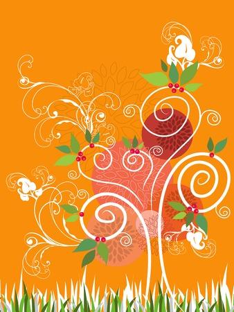 Summer Swirl Tree (vector) - illustration Vector