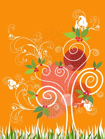 whimsical pattern: Summer Swirl Tree (vector) - illustration Illustration