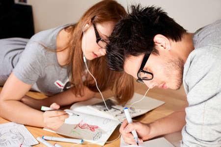 Couple listening music.