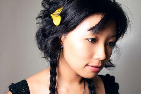 Asia girl close up shoot. Stock Photo