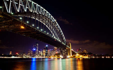 Sydney Harbor bridge night skyline.
