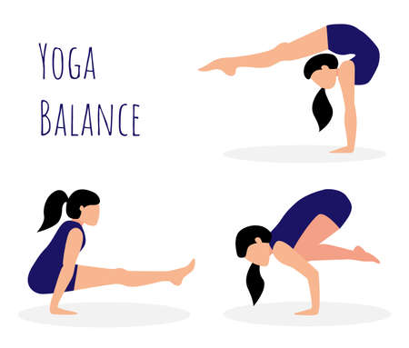 Vector set with balances in yoga. Girl is practicing yoga. Woman doing handstand. Vectores