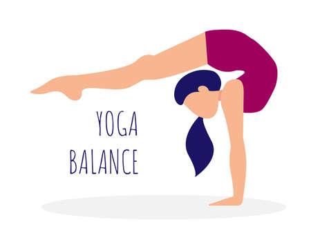Girl is practicing yoga. Woman doing handstand. Yoga balance. Ilustração