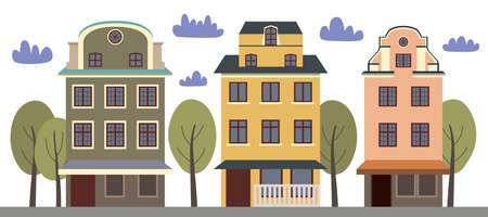 Vector collection with houses. Street with colorful houses, trees and clouds on a white background.