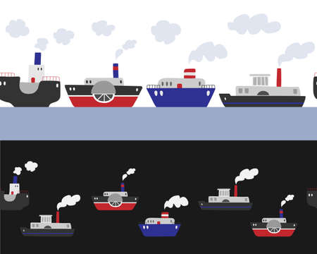 Seamless vector border with ships on a white and black background. Steamboats border.
