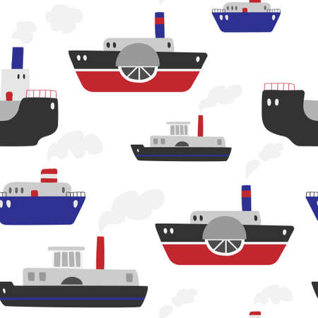 Seamless vector pattern with ships on a white background. Steamboats pattern.