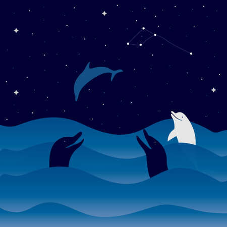 Night sea with waves, starry sky and dolphins. Dolphin constellation.