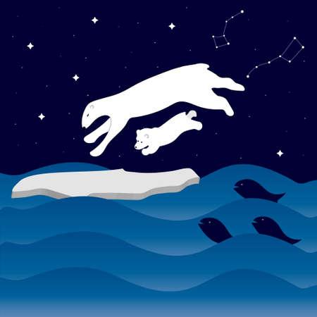 Night sea with waves, starry sky and polar bears on an ice floe. Constellation Ursa Major and Ursa Minor.