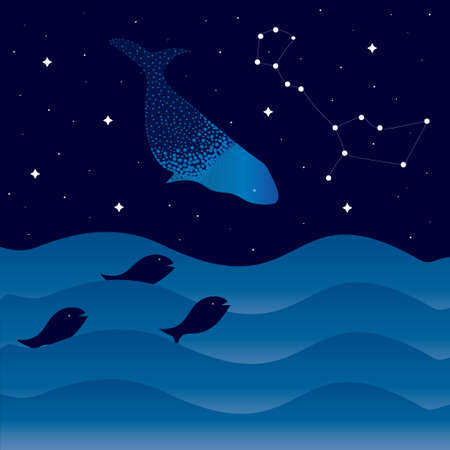 Night sea with waves and fish, starry sky and whale. Whale constellation. Vectores