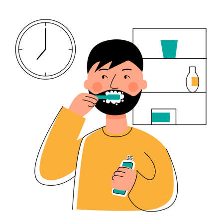 A man brushes his teeth and looks at watch. Morning hygiene. Vectores