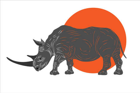 Vector realistic rhino stands on the background of the sun. African animals.