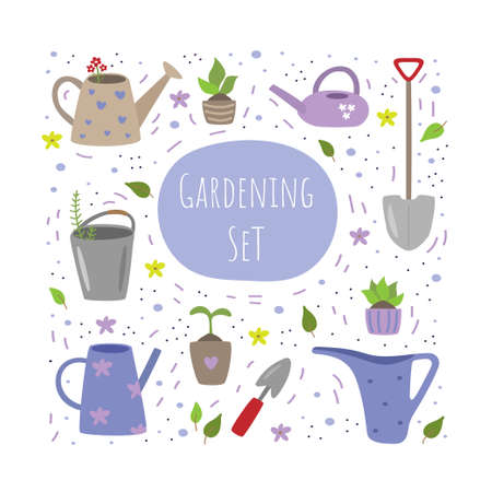 Vector collection of garden tools and plants on a white background. Garden set. Vector illustration