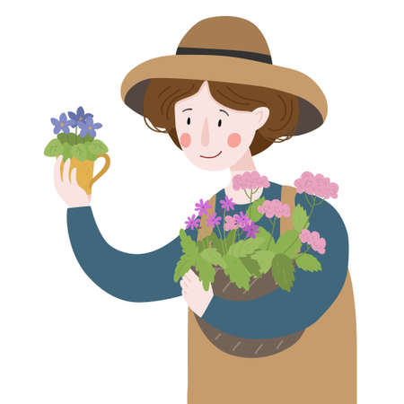 Woman holds a basket with flowers from the garden. Gardening. Farming. Vector illustration Ilustração