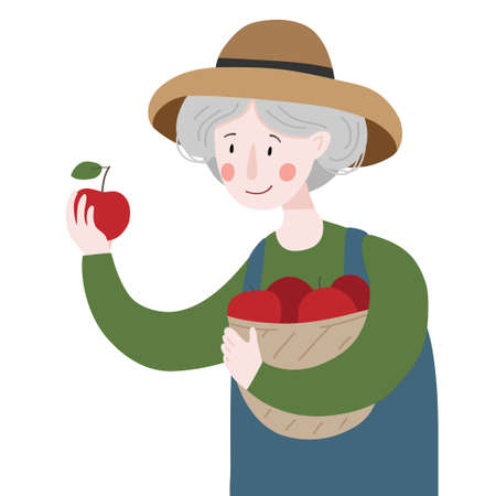 Woman holds a basket with apples from the garden. Gardening. Farming. Vector illustration