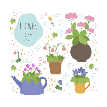 Vector set of flowers in different containers. Flowers in pots, tea pots, cup and a jug. Vector illustration Ilustração