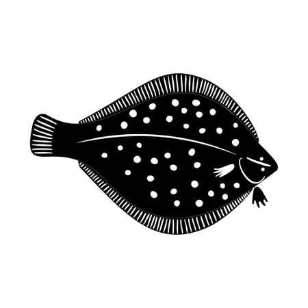 Vector flatfish with spots on white background Ilustração