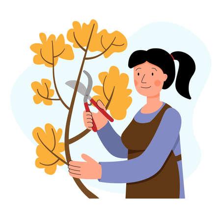 Woman cuts trees in the garden. Autumn work in the garden. Gardening. Ilustração