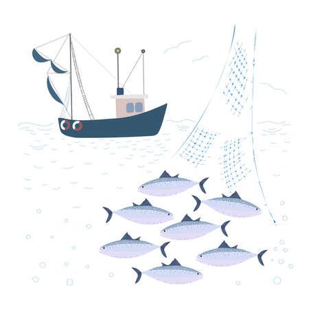Fishing trawler at sea. Net with tuna fish.
