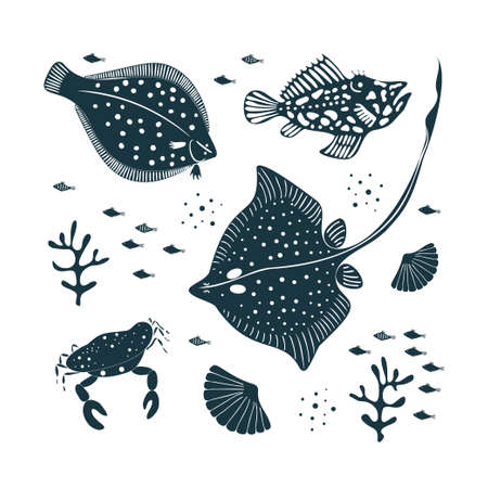 Hand drawn vector collection with sea creatures. Isolated vector element on a white background. Ocean monochrome set.