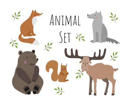 Vector collection with animals on a white background. Illustration with cute animals for children.