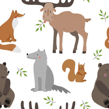 Seamless vector pattern with brown bear, squirrel, fox, wolf and moose on a white background. Ilustração