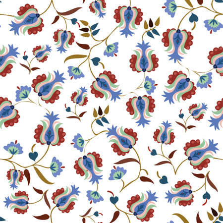 Seamless vector pattern with ornament of flowers. Ethnic ornament with flowers. Tatar ornament. Pattern for fabric.