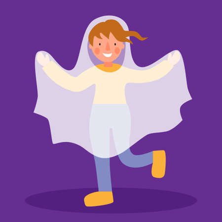 A child in a ghost costume. Children costumes for Halloween.