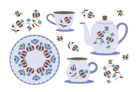 Tea set with oriental ornaments. Tea service. Tea time. Ilustração