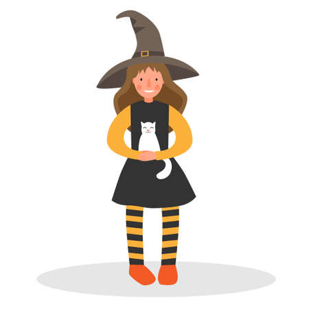 Girl in a witch costume with a white cat. Girl in a hat and striped tights. Witch costume for halloween.
