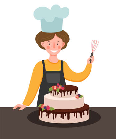 Vector scene with a cook in the kitchen. Woman cook preparing cake with berries.
