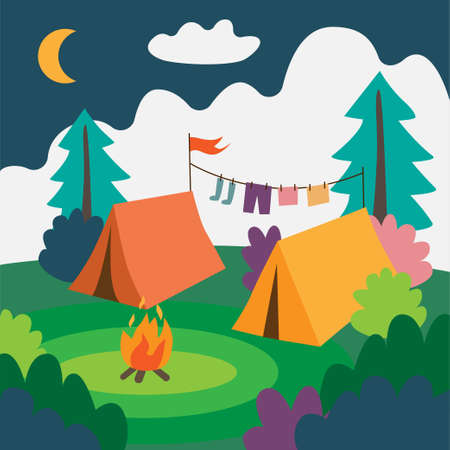 Camp with two tents and campfire. Natural landscape with tents. Ilustração