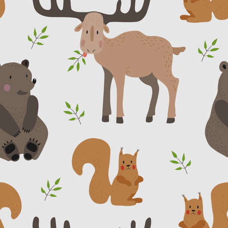 Seamless vector pattern with brown bear, squirrel and moose on a light background.