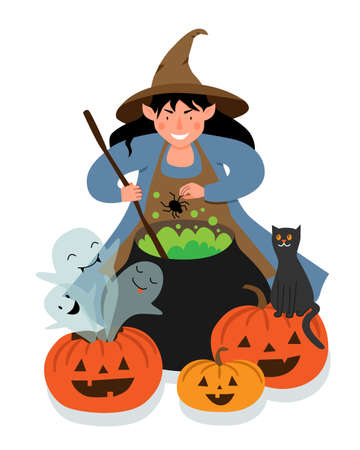 The witch brews a spider potion in a large cauldron. Halloween scene with a witch, pumpkins, ghosts and a black cat.
