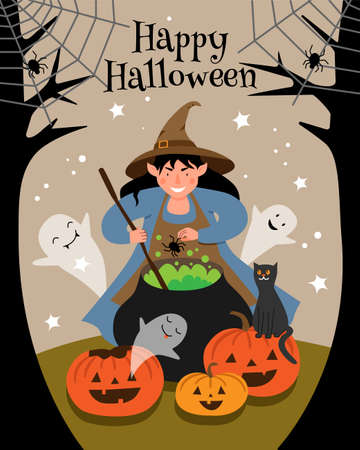 The witch brews a spider potion in a large cauldron on the forest. Halloween scene with a witch, pumpkins, ghosts and a black cat.