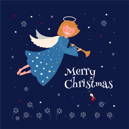 Christmas angel with a trumpet and the text Merry Christmas.