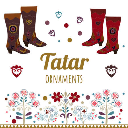 Vector set with ethnic ornament. Tatar ornament. Ethnic boots.