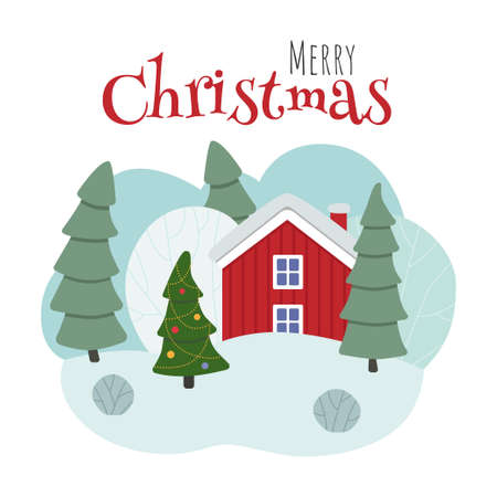 Winter scene with a red house, trees and a Christmas tree. Merry Christmas. Ilustração