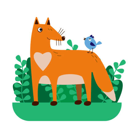 Funny foxwith a blue bird in a primitive style .