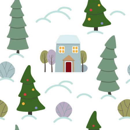 Winter pattern with house and christmas tree. Seamless vector pattern with winter forest.