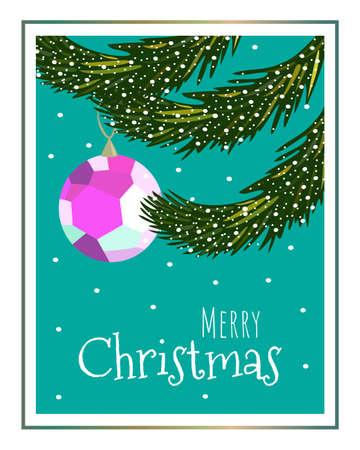 Christmas card with fir branches, ball and snow. Christmas tree.