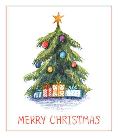 Christmas tree with colored pencils. Christmas tree with gifts and hand drawn text. Banco de Imagens