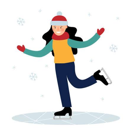The girl is skating on the ice. Winter fun. Ilustração