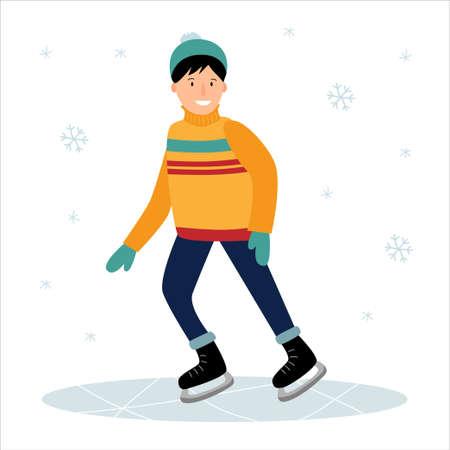 The boy is skating on the ice. Winter fun. Ilustração
