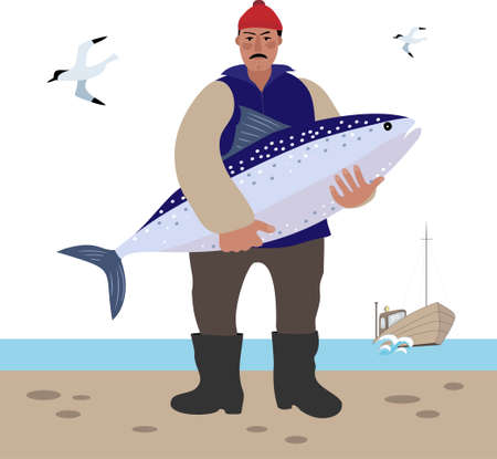 The sailor stands with a large fish in his hands. Banco de Imagens - 152477922