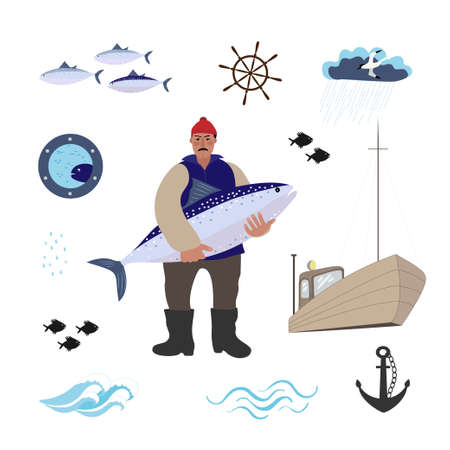 Sea set with sailor, fishes, boat, anchor and seagall. The sailor stands with a large fish in his hands.