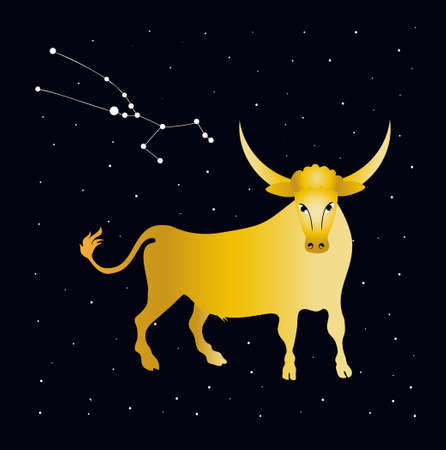 Golden bull and starry sky. Constellation taurus. Zodiac. Banco de Imagens - 152477925