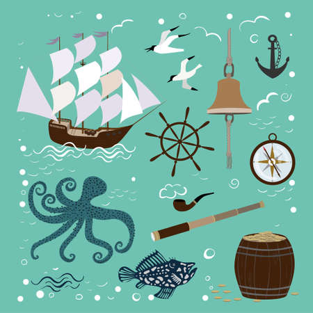 Set of items related to the sea. Marine collection with ship, octopus, compass and seagulls. Banco de Imagens - 153122479